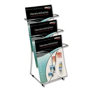 Deflecto Literature Display Stand Wire Static 1 Side 7 x A4 Pockets W380xD380xH1410mm Ref 78745